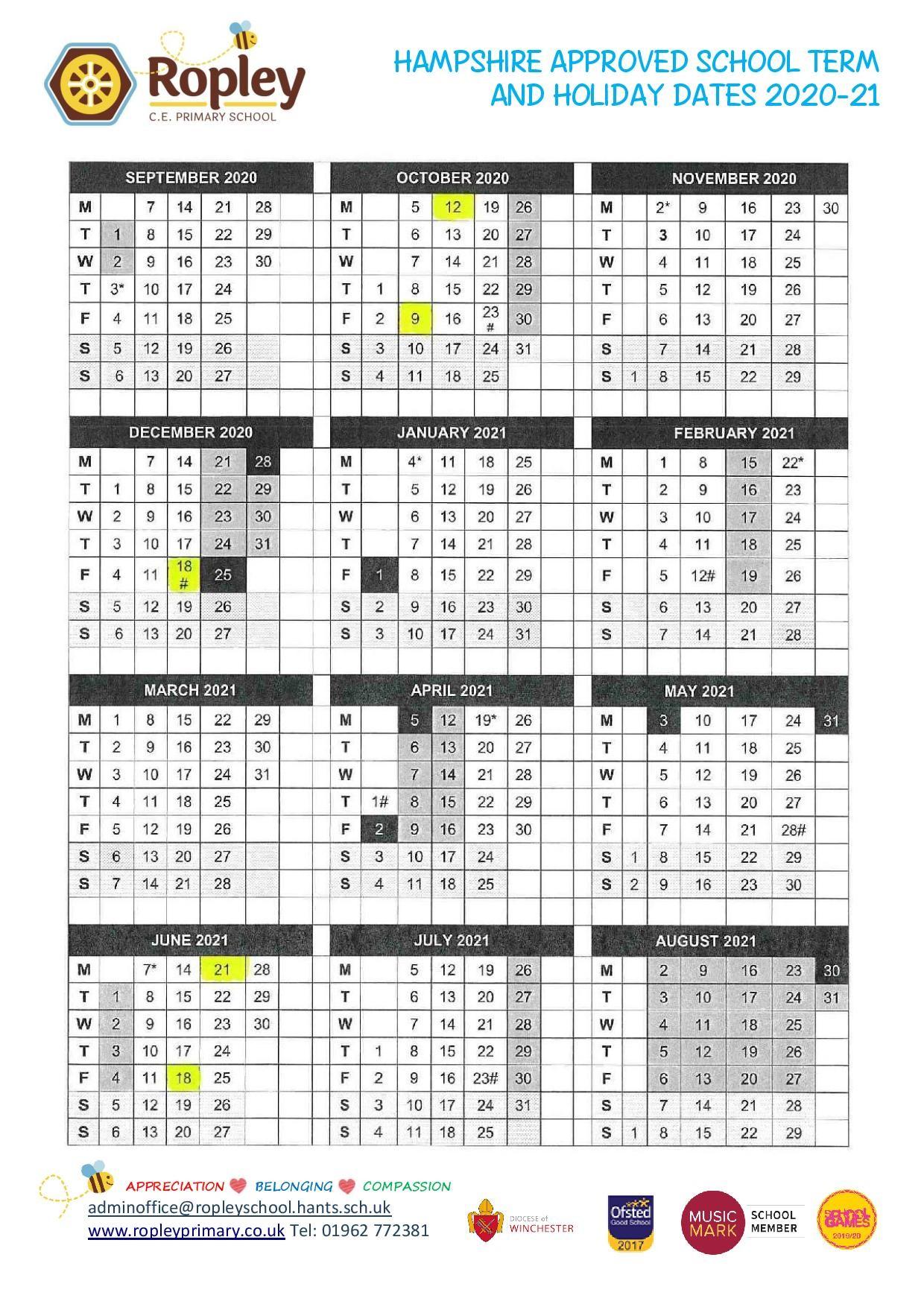 Hampshire School Holiday Dates  Ropley C.e. Primary School with regard to Matravers School Calendar