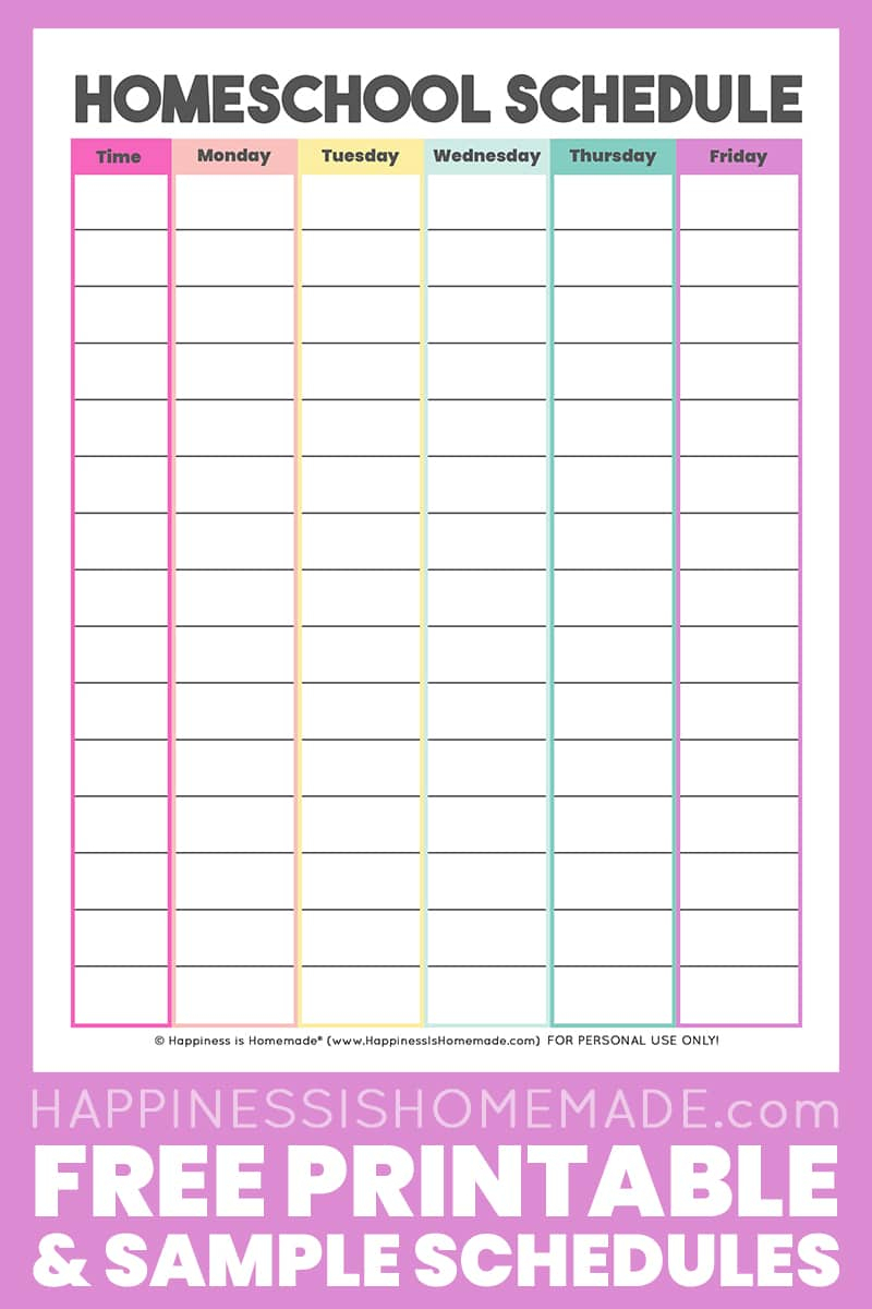 Homeschool Schedule Template: Free Printable  Happiness Is pertaining to Free Printable Daily Calendar With Time Slots
