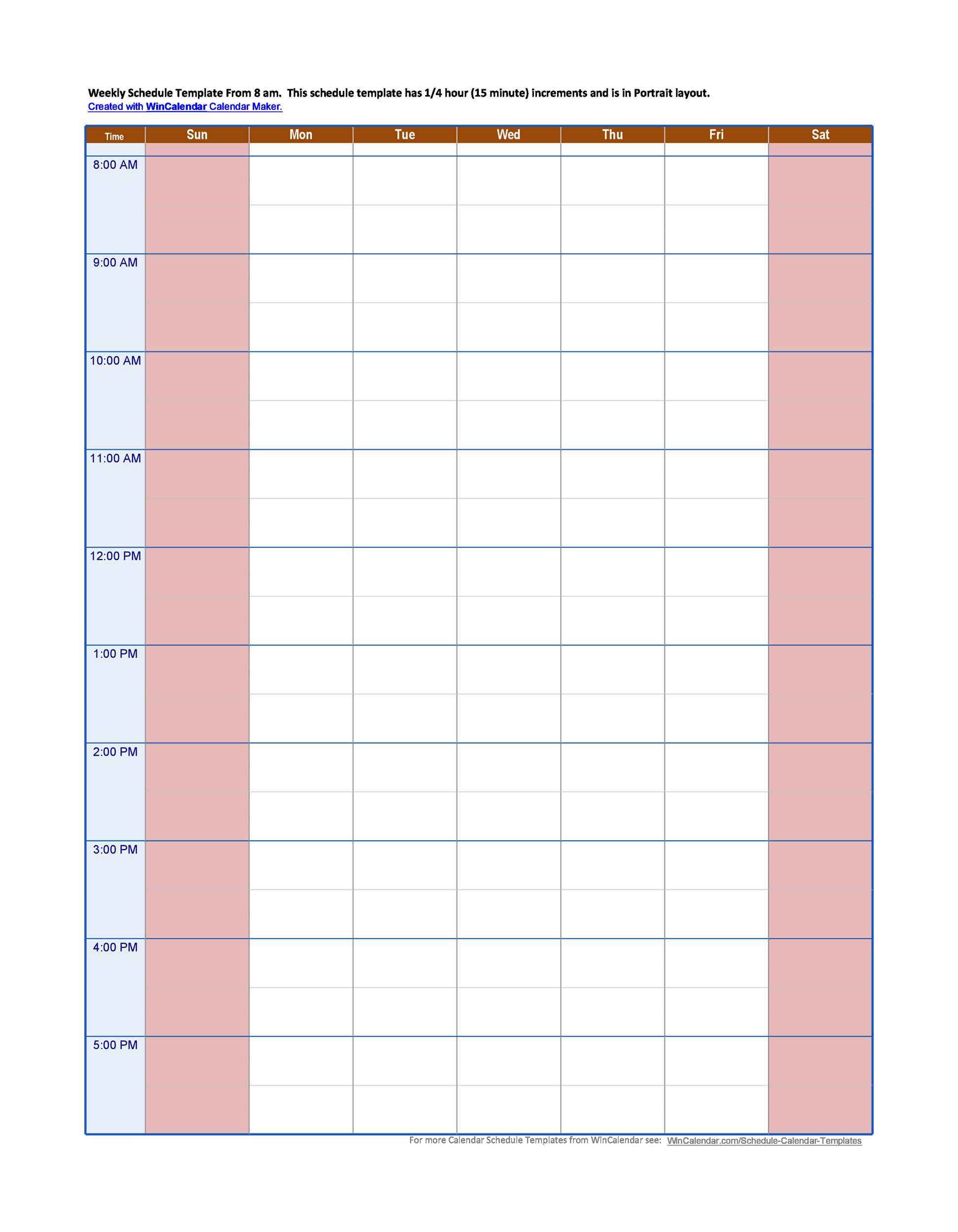 Hourly Weekly Calendar Template Time With Slots Excel Daily with Hourly Calendar Template Excel