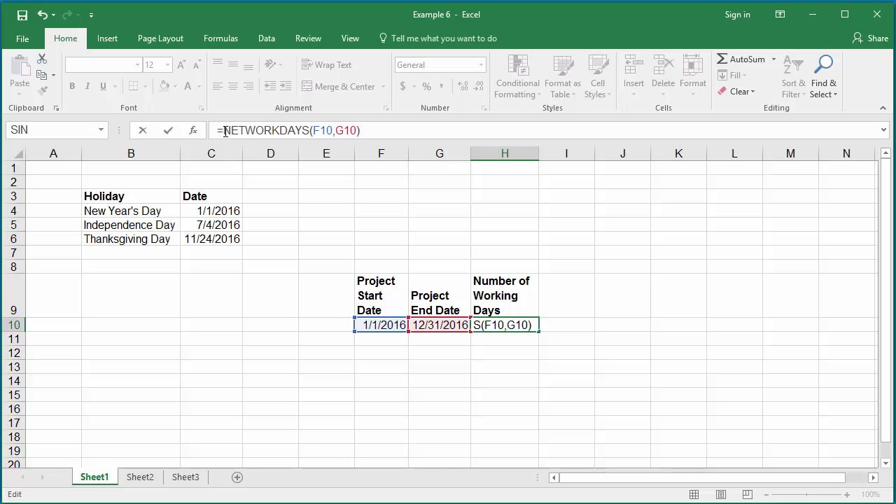 How To Calculate Number Of Working Days Between Two Dates In Excel 2016 intended for Countdown Minus Weekends