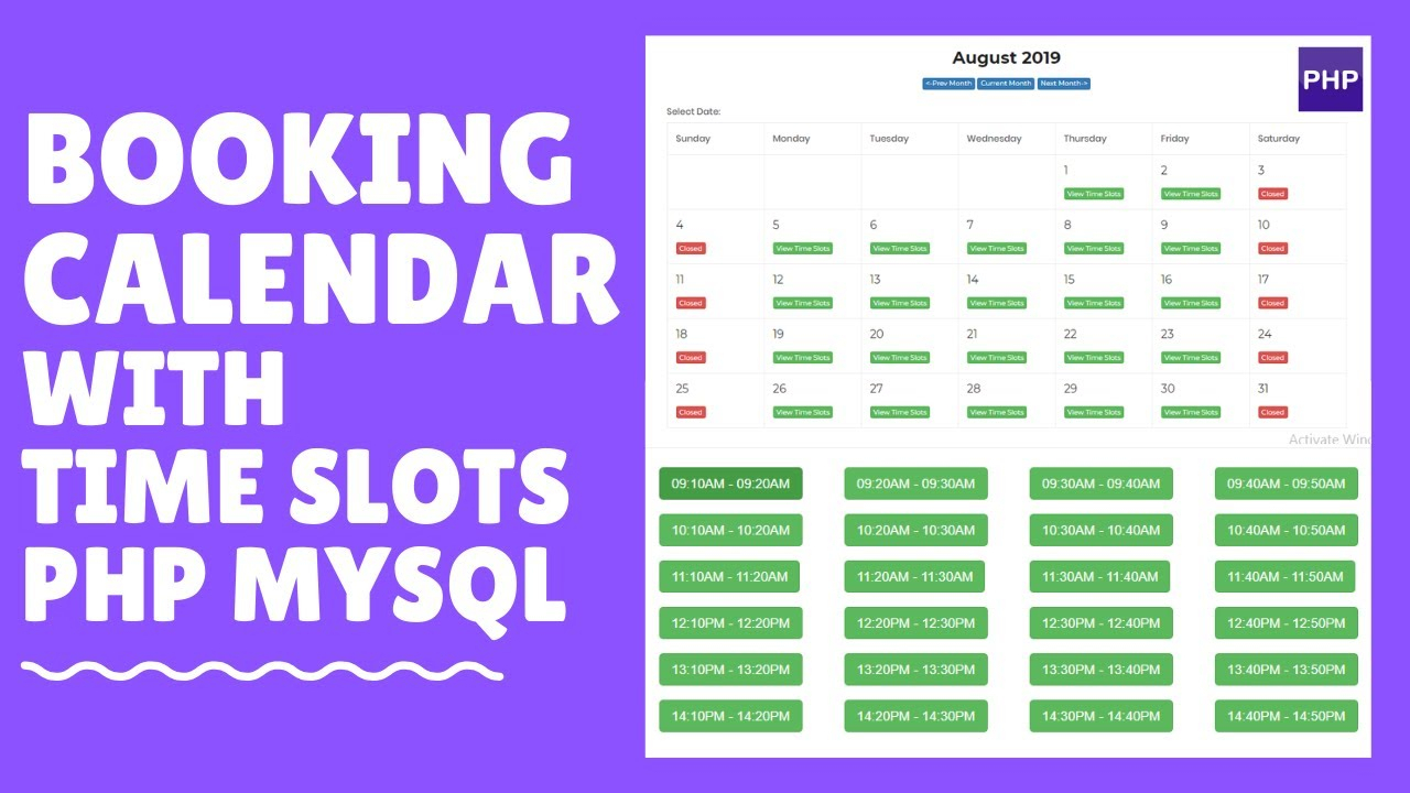 How To Create A Booking Calendar With Time Slots Php Mysql Part 3 with Calendar With Times Slots