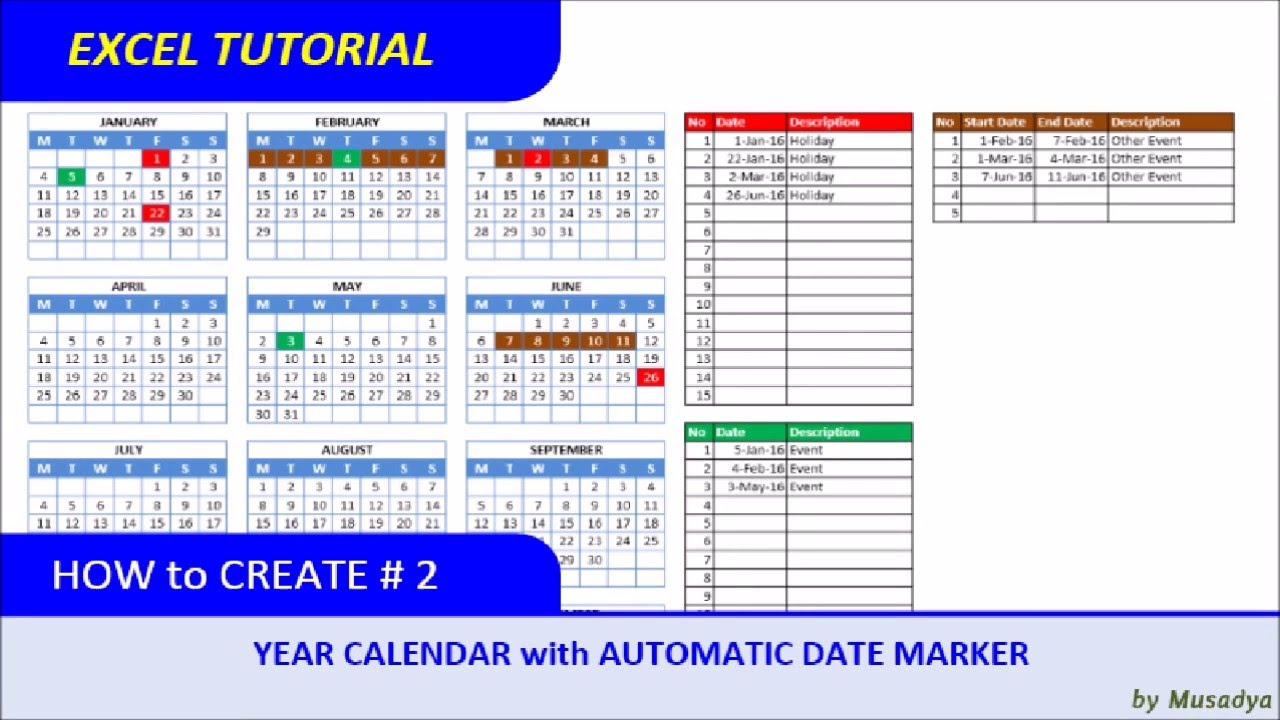 How To Create Excel Calendar For Specific Year With Automatic Date Marker with regard to Convert List Of Dates To Calendar Excel