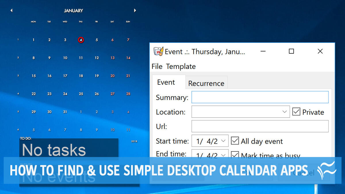 How To Find And Use Simple Desktop Calendar Apps with Calendar Widget For Windows 10