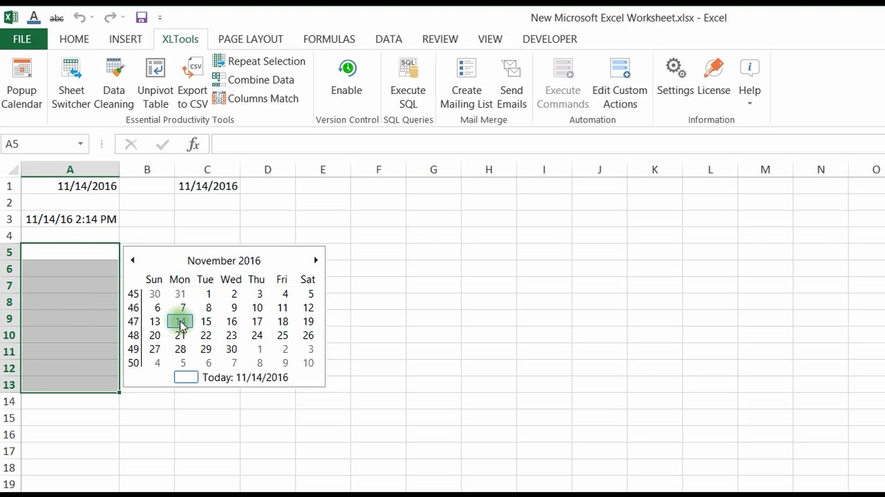 How To Insert Dates From A Popup Calendar (Date Picker) In regarding Convert List Of Dates To Calendar Excel