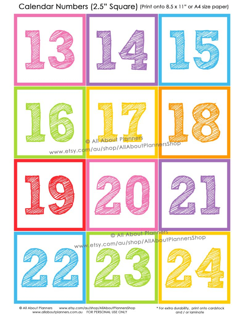 How To Make Teaching Printables And Classroom Decorating inside Free Printable Calendar Numbers