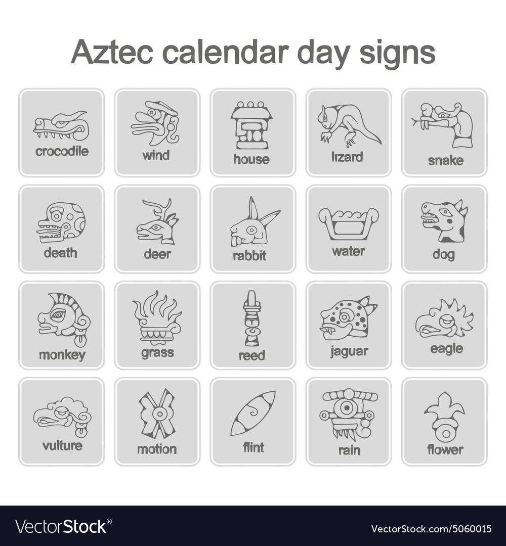 Icons With Aztec Calendar Day Signs Royalty Free Vector in Aztec Calendar Template