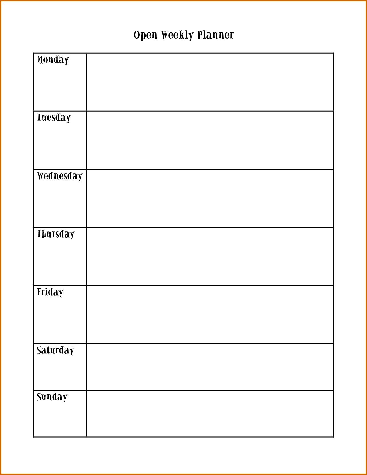 Image Result For Monday Through Friday Calendar Template for Monday Through Friday Calendar Template Excel