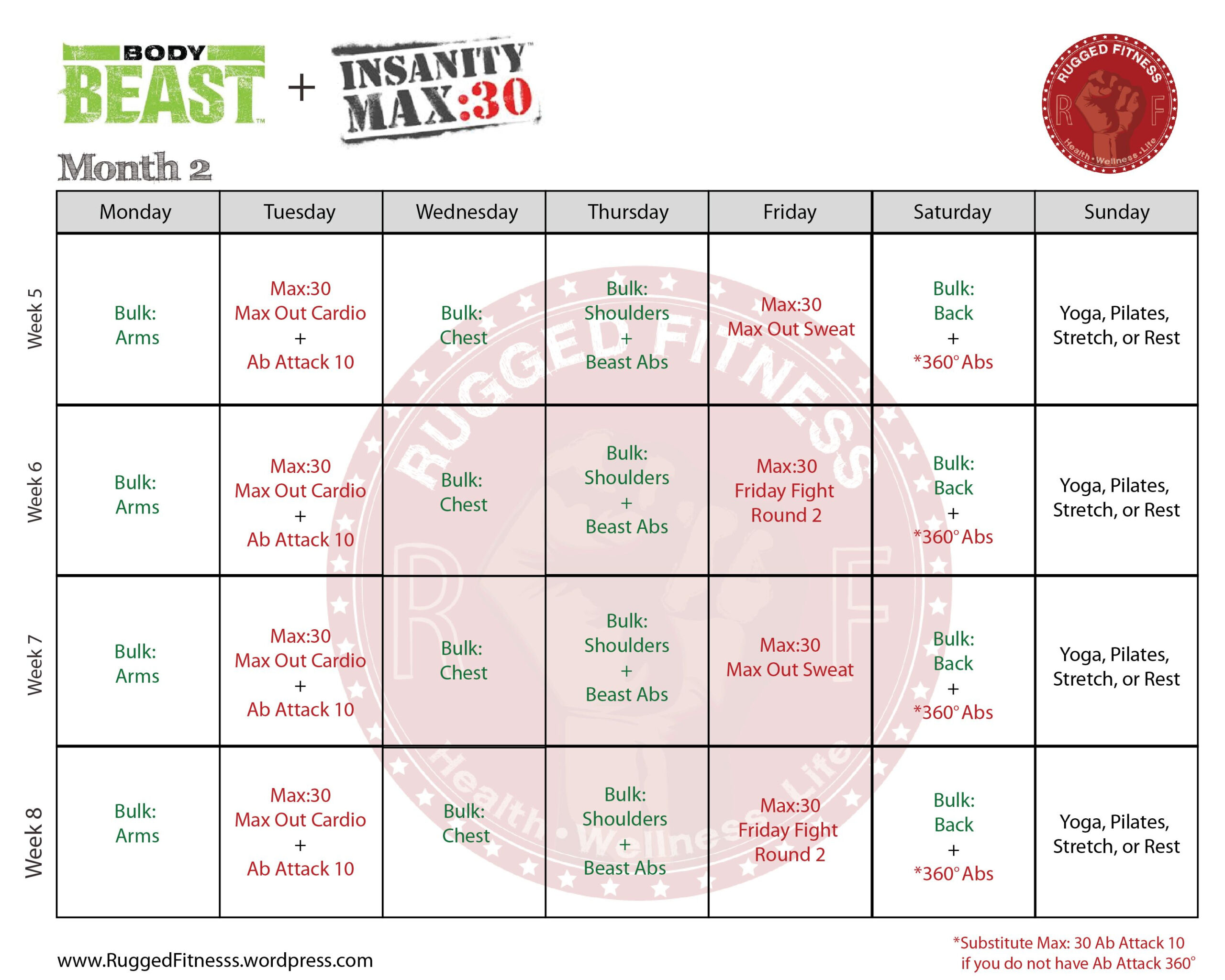 Insanity Max 30 Body Beast Hybrid | Calendar For Planning with Insanity Max 30 Hybrid Calendar