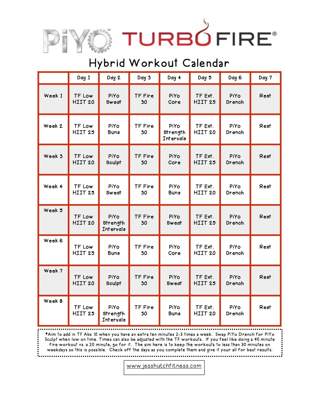 Insanity Max 30Piyo Hybrid Calendar  Calendar regarding Insanity Max 30 Hybrid Calendar