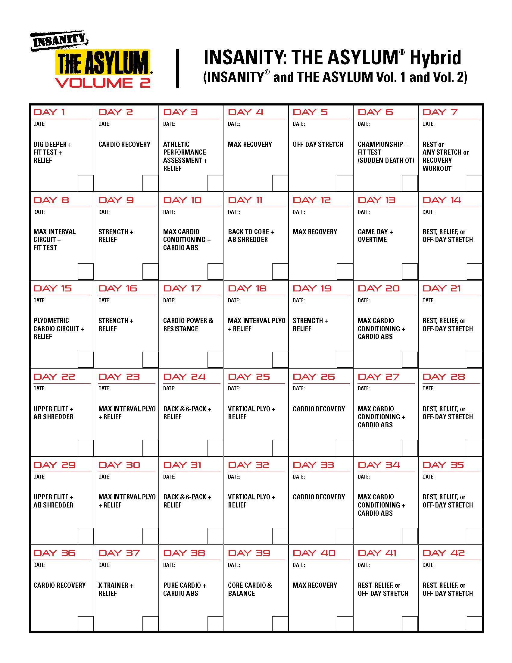 Insanityasylum 1 And 2 Hybrid Month 1  This Is What'S Next regarding Shaun T Hybrid Calendar