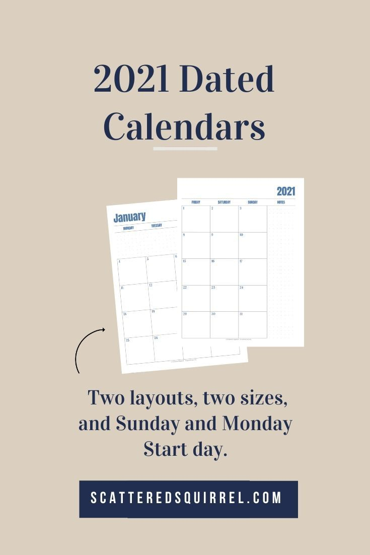 Introducing The 2021 Dated Calendars!  Scattered Squirrel with Scattered Squirrel Monthly Calendar