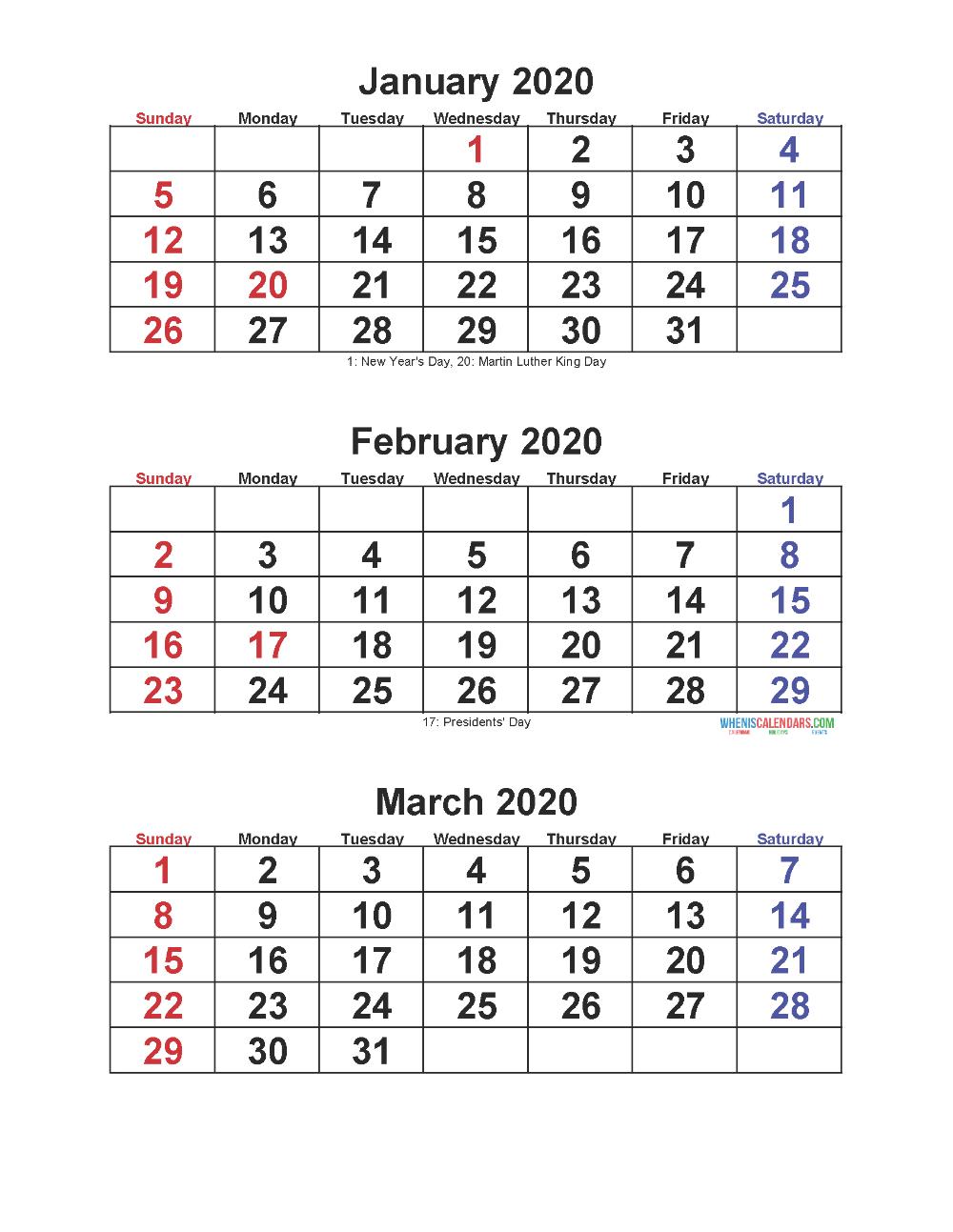 Jan Feb Mar 2020 Calendar 3 Months Per Page | Free Printable for 3 Month Calendar Template