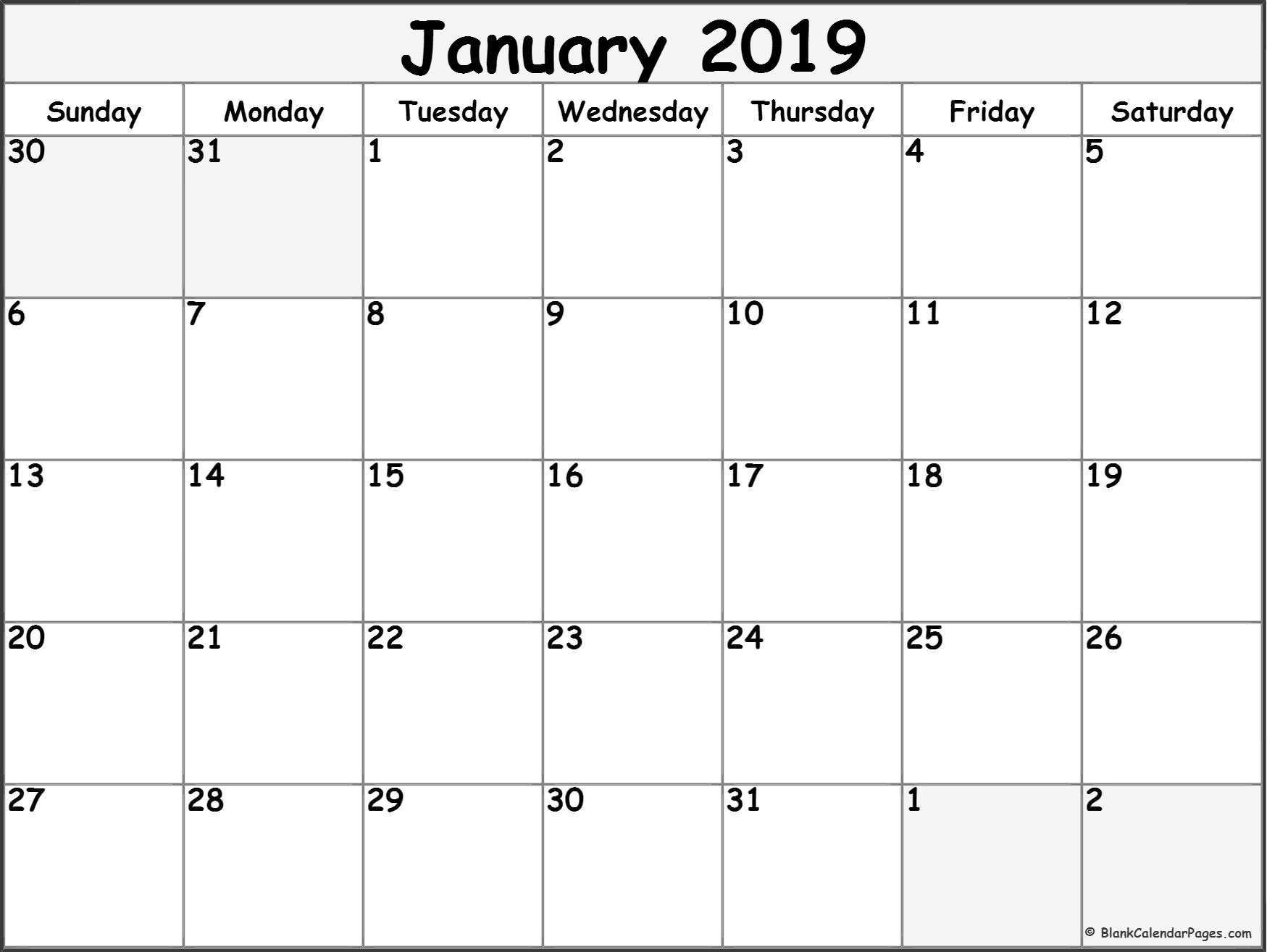 January 2019 Blank Calendar Templates. with regard to 3 Month Blank Calendar Template