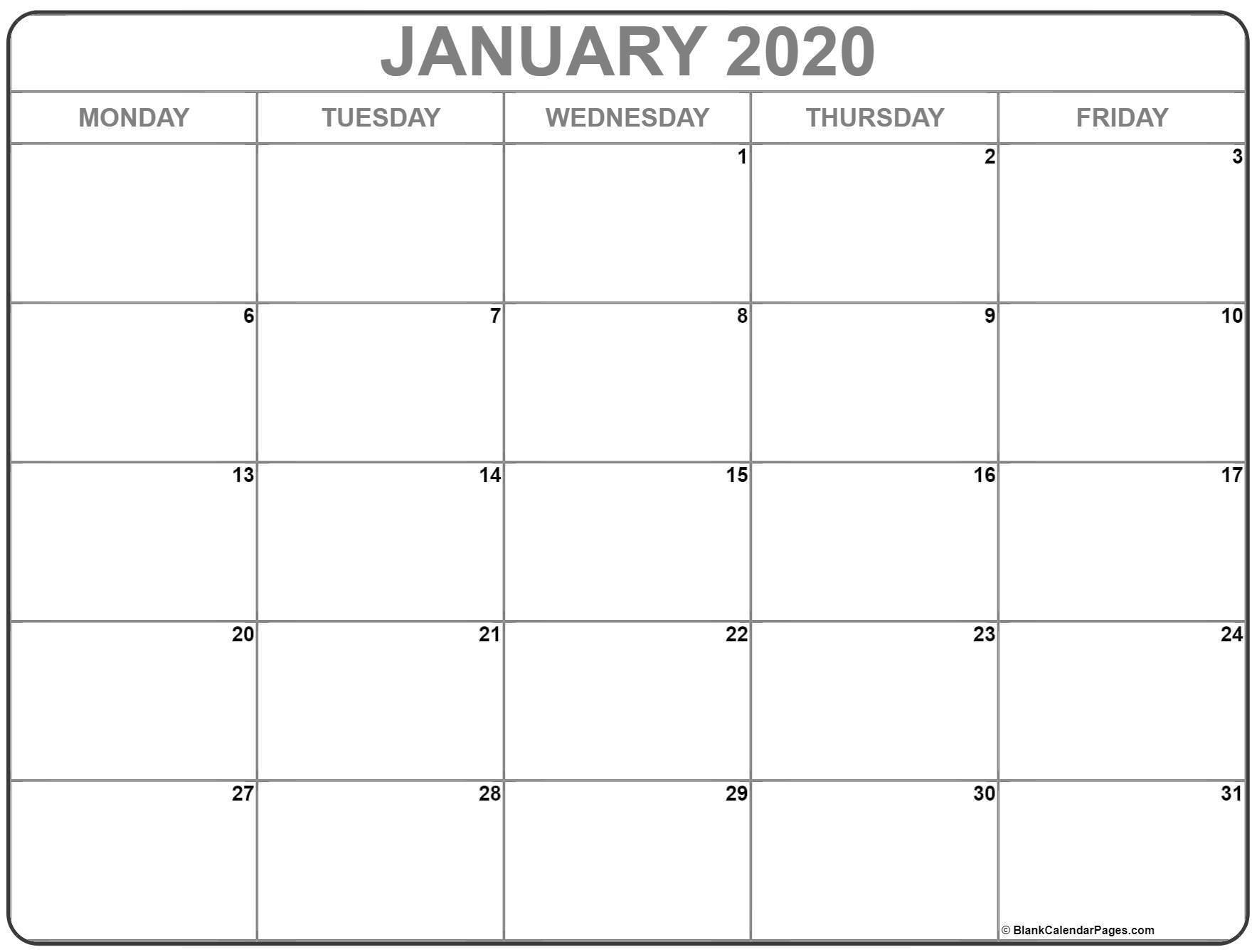 January 2020 Monday Calendar | Monday To Sunday regarding Free Printable Calendar Monday Through Friday