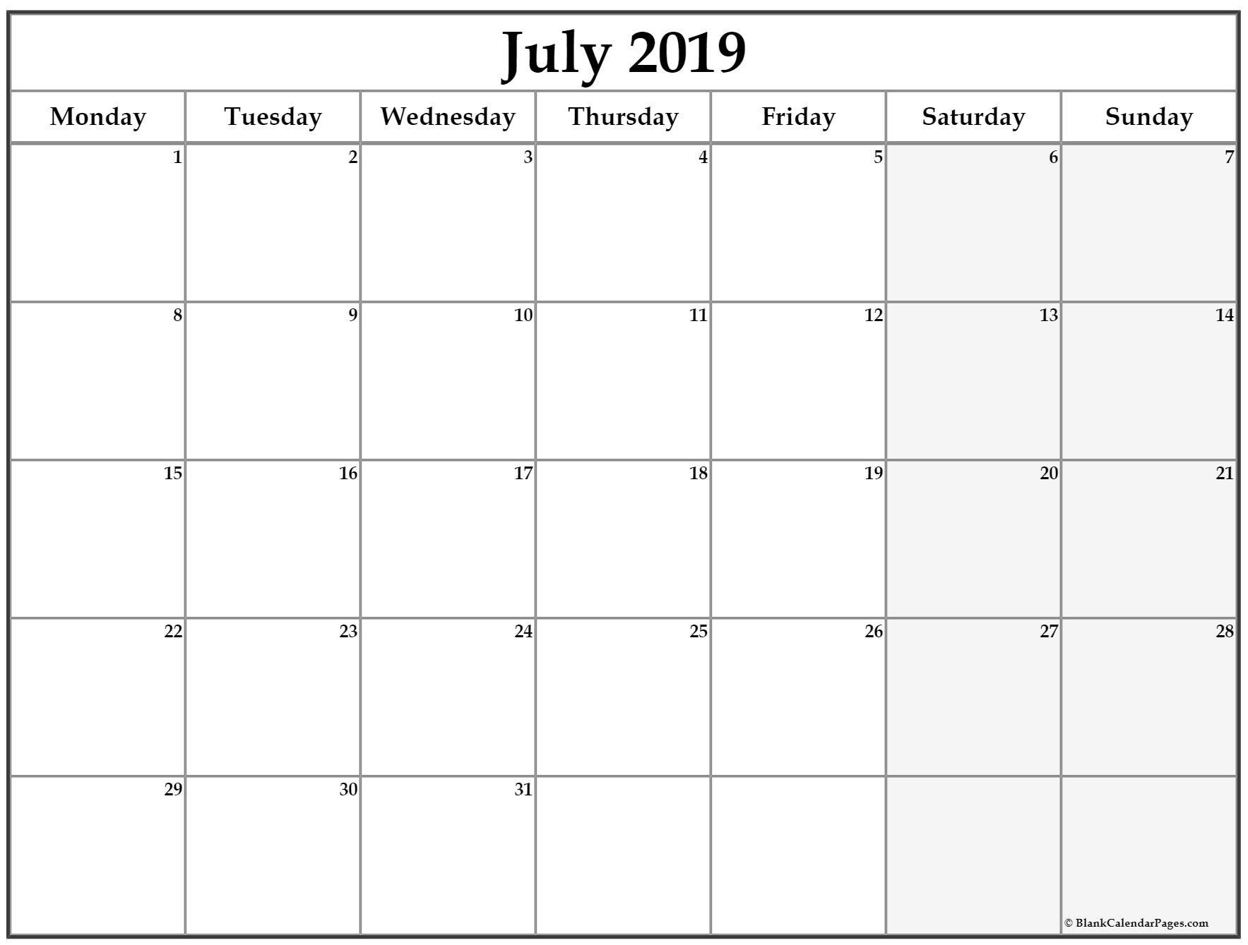 July 2019 Monday Calendar. Monday To Sunday | Monthly with Monday To Sunday Calendar