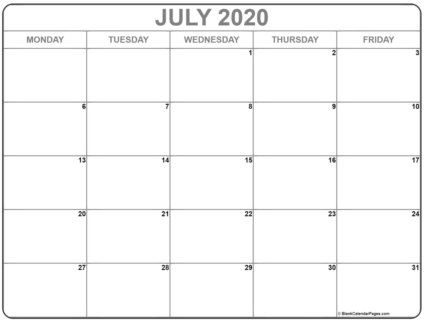 July 2020 Monday Calendar | Monday To Sunday in Monday-Friday Calendar Template