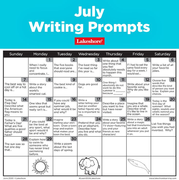 July Writing Prompts In 2020 | Writing Prompts, Daily intended for Lakeshore Learning Writing Prompts