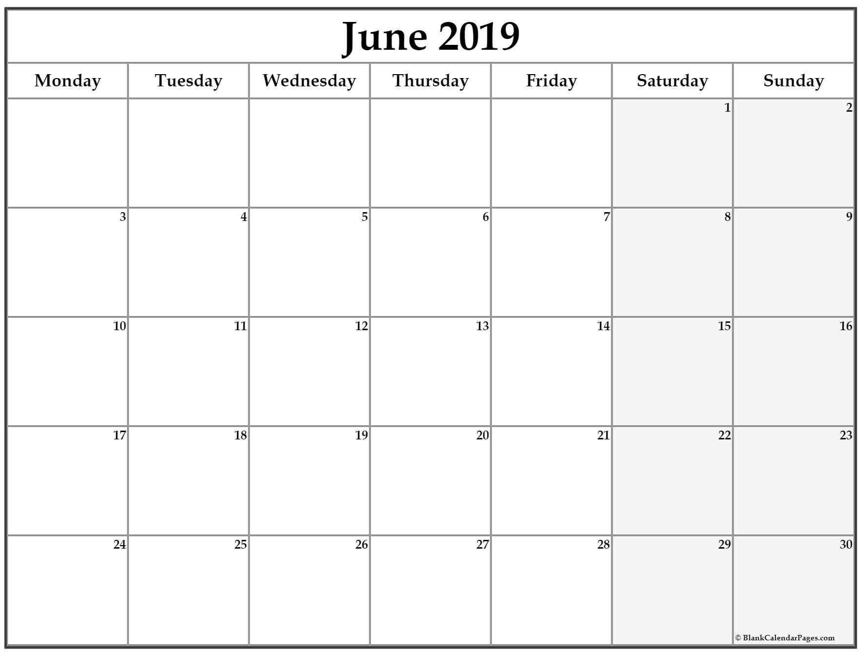 June 2019 Monday Calendar. Monday To Sunday | Calendar in Monday Through Saturday Calendar