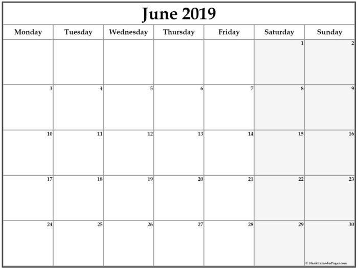 June 2019 Monday Calendar. Monday To Sunday   Calendar throughout Monday To Sunday Calendar