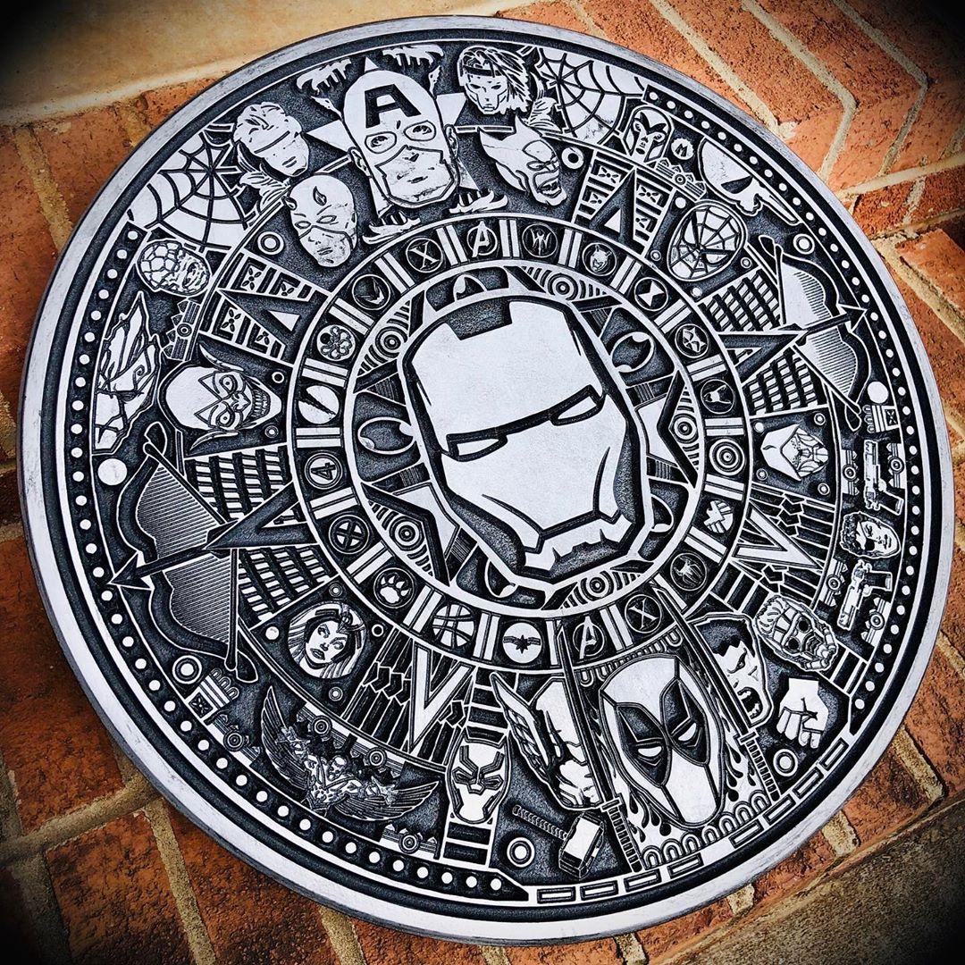 Laser Cut Engraving Marvel Aztec Calendar Free Vector Cdr with regard to Aztec Calendar Template