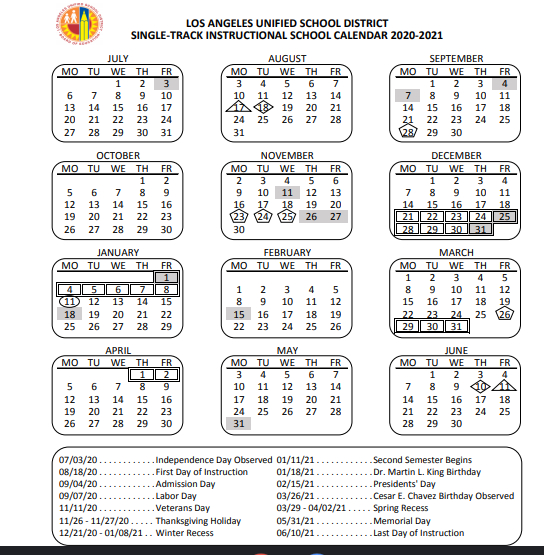 Lausd Calendar 2021 | 2022 Calendar throughout Grandview School District Calendar