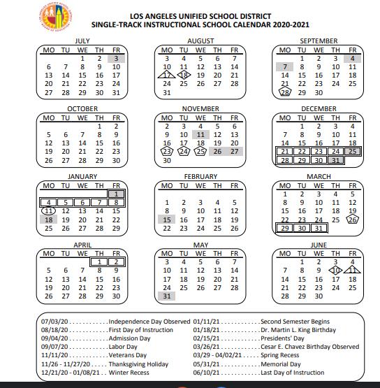 Lausd Calendar 2021   2022 Calendar throughout Grandview School District Calendar