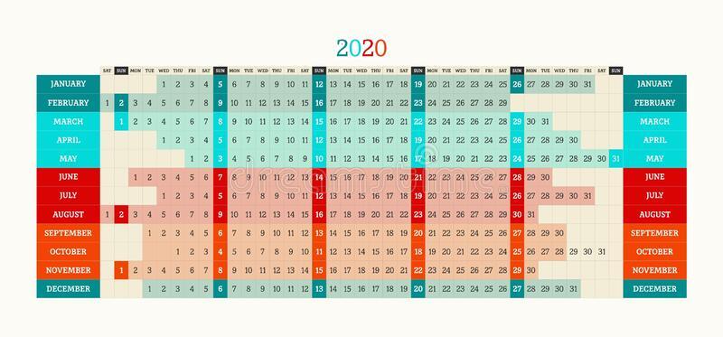 Linear Calendar 2020. Vector Illustration. Template Diary regarding Linear Calendar Template