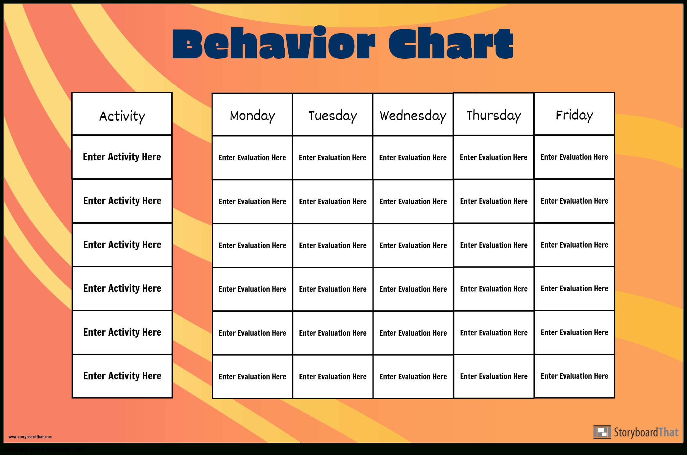 Make Your Own Behavior Charts | Behavior Chart Template for Monthly Behavior Chart
