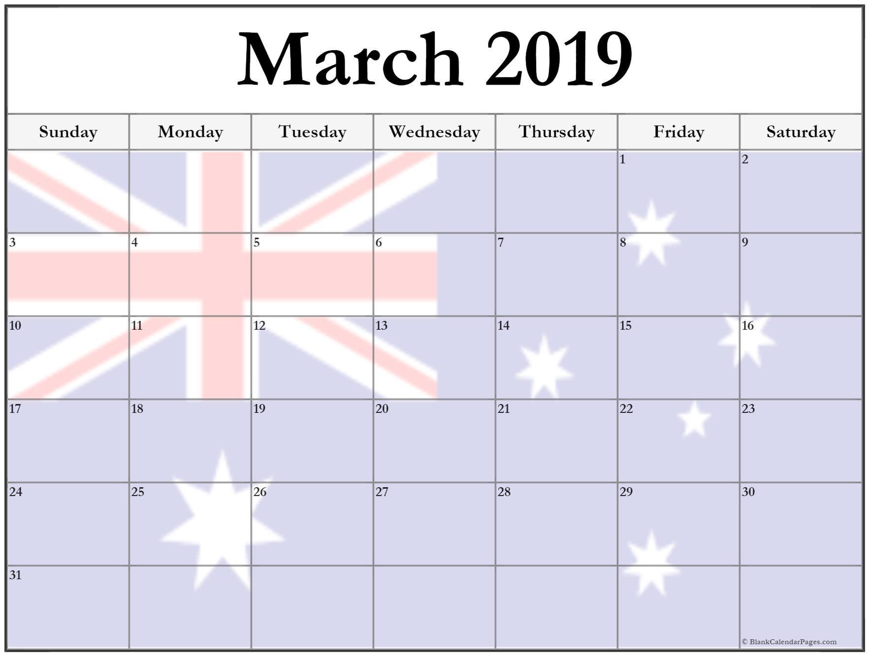 March 2019 Calendar Australia  Australia Moment regarding Calendars Michel Zbinden