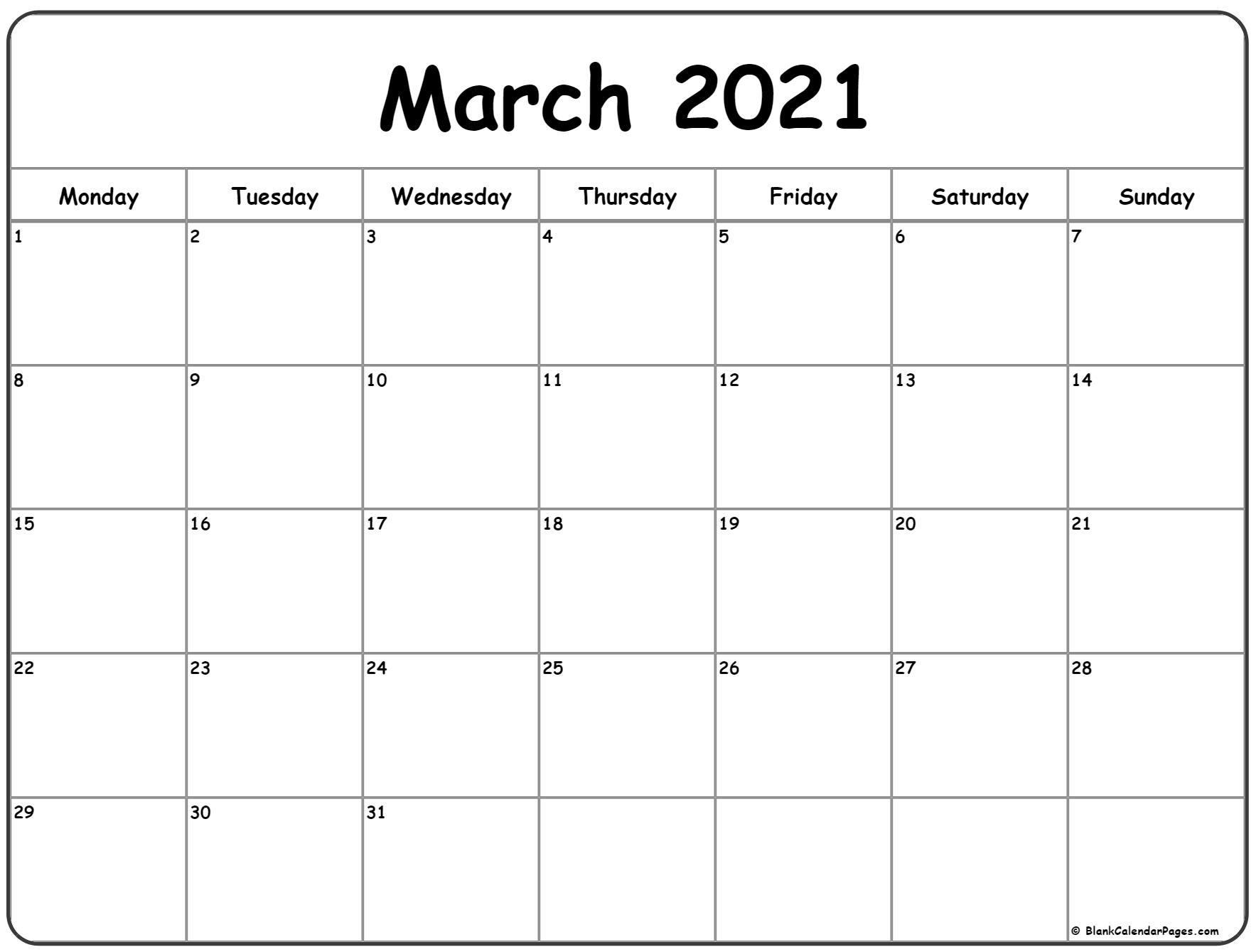 March 2021 Monday Calendar | Monday To Sunday for Free Printable Calendar Monday Through Friday