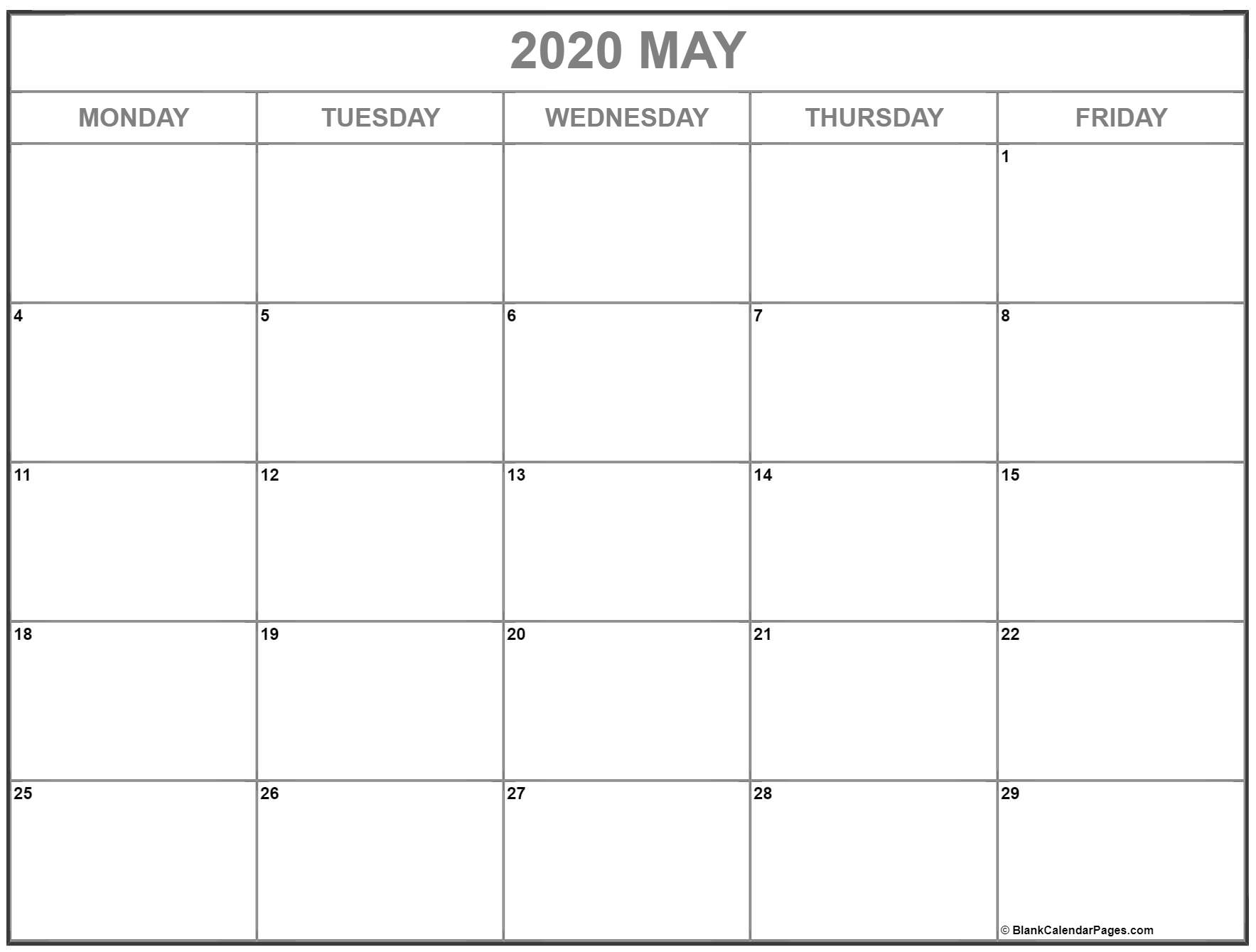 May 2020 Monday Calendar | Monday To Sunday intended for Monday-Friday Calendar Template