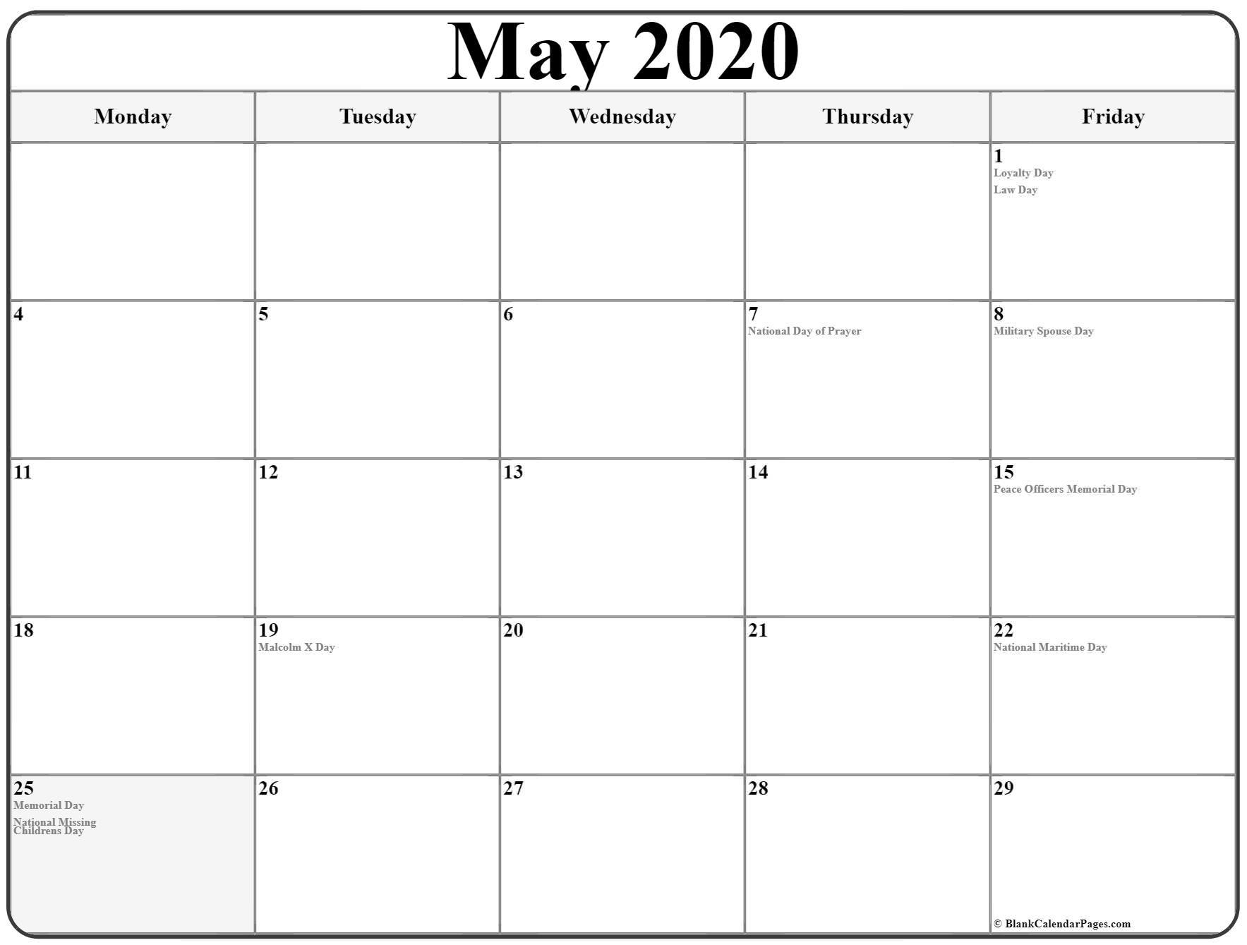 May 2020 Monday Calendar | Monday To Sunday throughout Free Printable Calendar Monday Through Friday