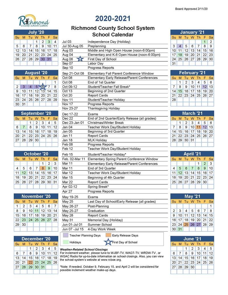 Media Center  20202021 School Calendar for Augusta County School Calendar