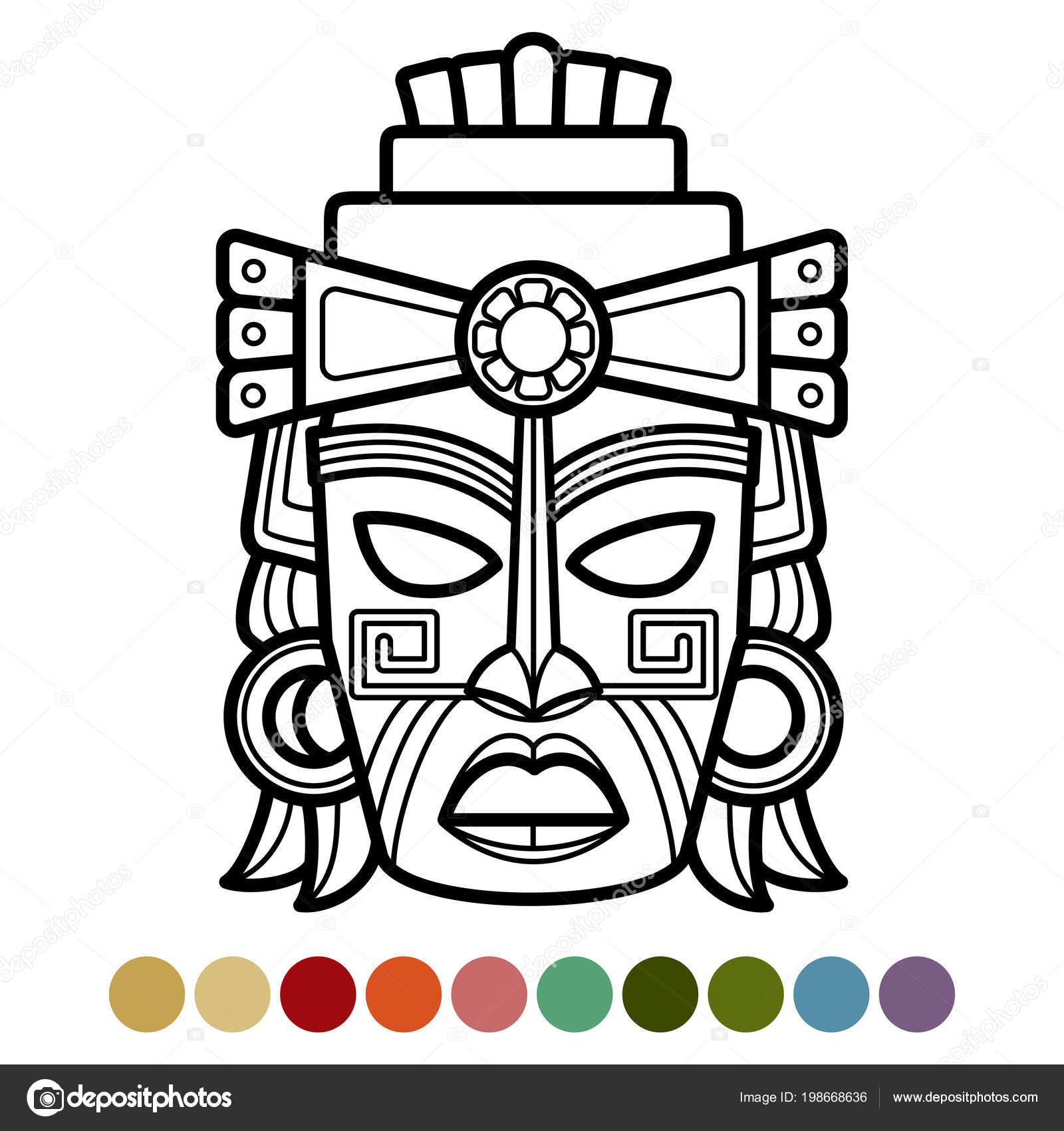 Mexican, African, Aztec Mask Coloring Page 198668636 in Aztec Mask Template