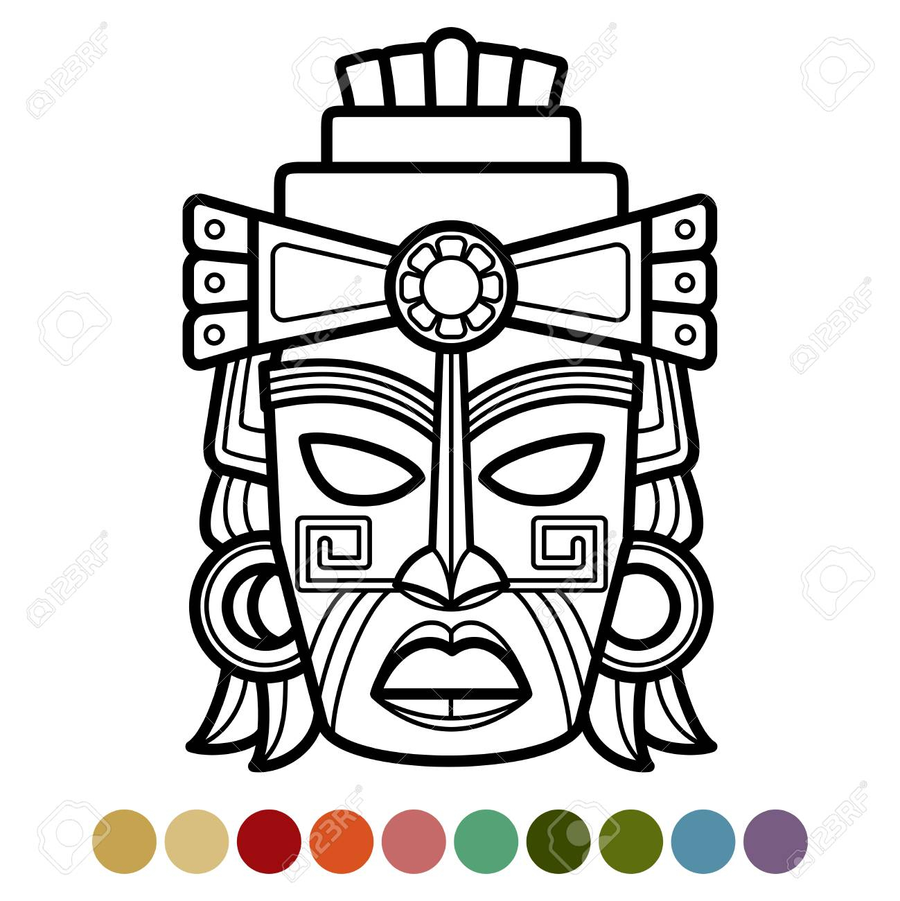 Mexican, African, Aztec Mask Coloring Page throughout Aztec Mask Template