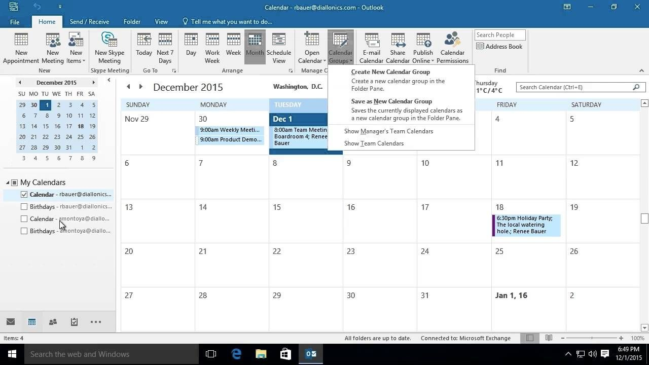 Microsoft Outlook 2016: Viewing And Using Multiple Calendars for Conditional Formatting Outlook Calendar