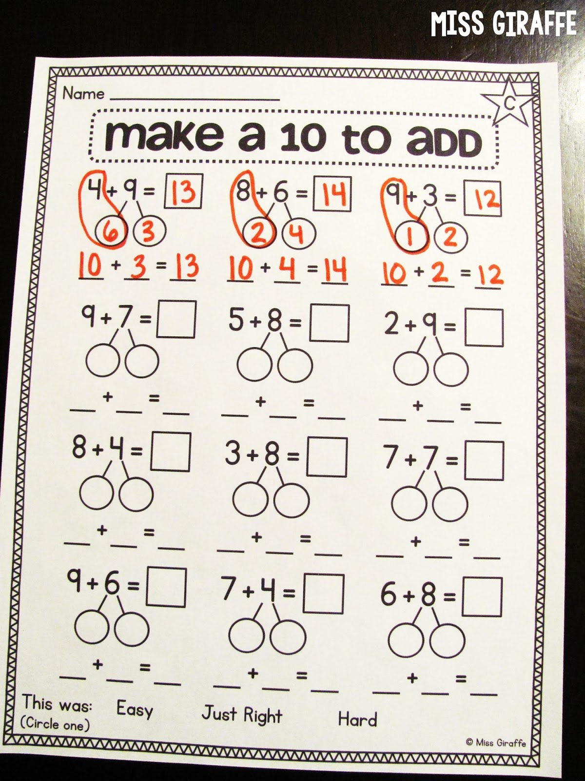 Miss Giraffe'S Class: Making A 10 To Add pertaining to Hebrew Calendar Worksheets And How To Make One