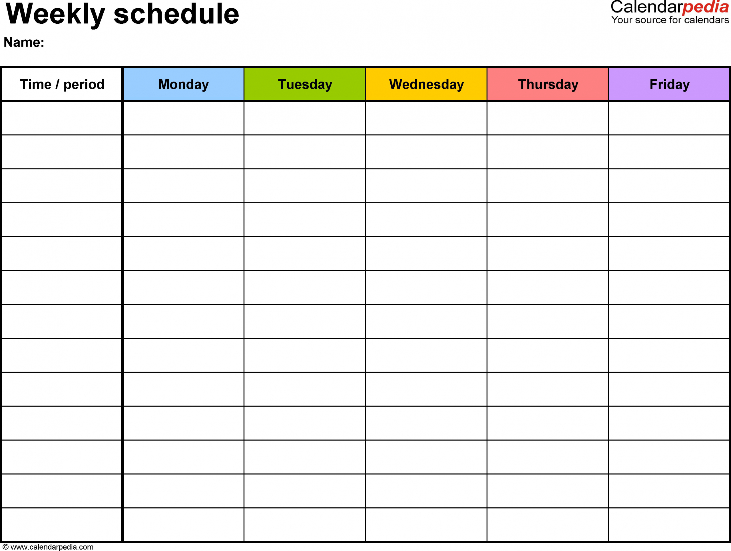 Monday Friday Calendar In 2020 | Daily Schedule Template regarding Monday Thru Friday Schedule Template