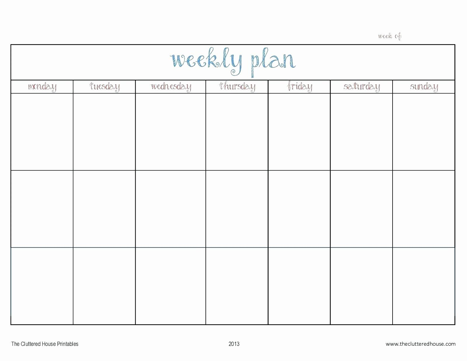 Monday Through Friday Schedule Template Unique Week Calendar for Saturday Through Friday Calendar