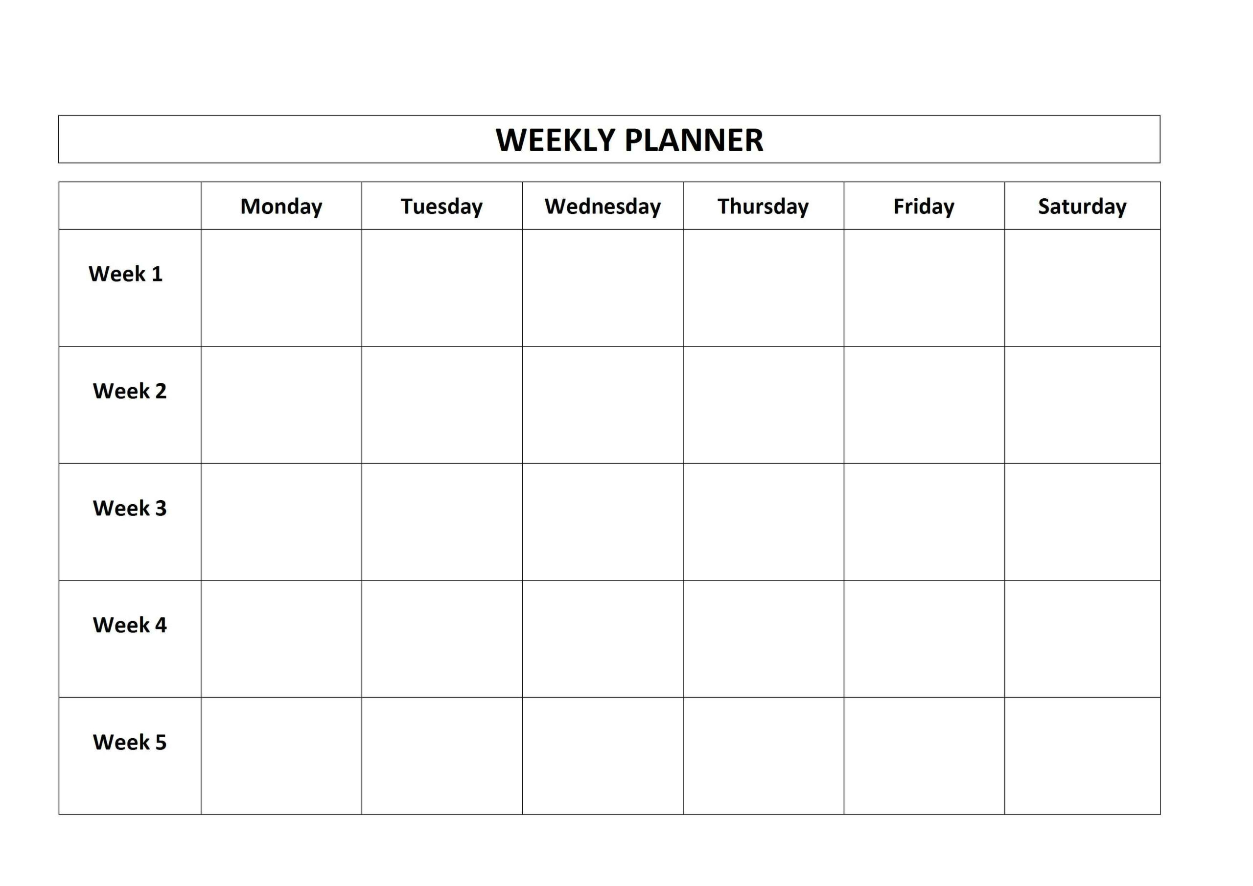 Monday To Friday Planner Template | Calendar For Planning with regard to Saturday Through Friday Calendar