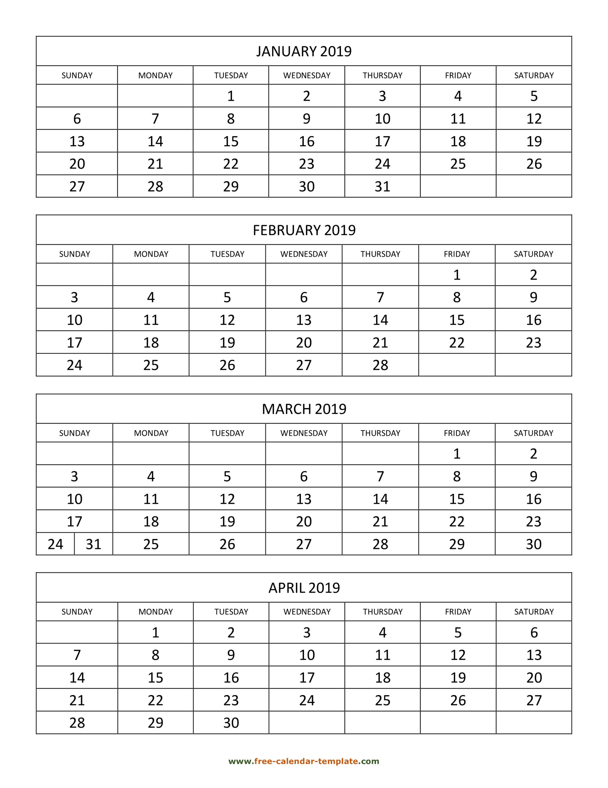 Monthly 2019 Calendar 4 Months Per Page (Vertical) | Free throughout Free Printable Calendar 4 Months Per Page