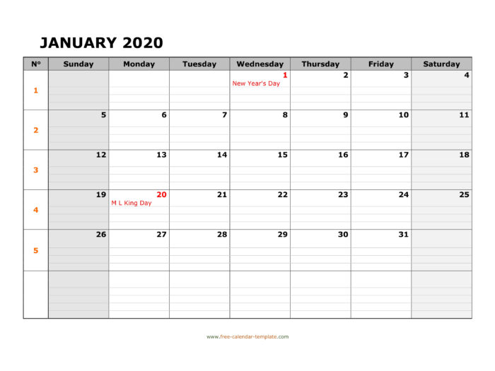 Monthly 2020 Calendar Free Printable With Grid Lines with Free Printable Monthly Calendar With Lines