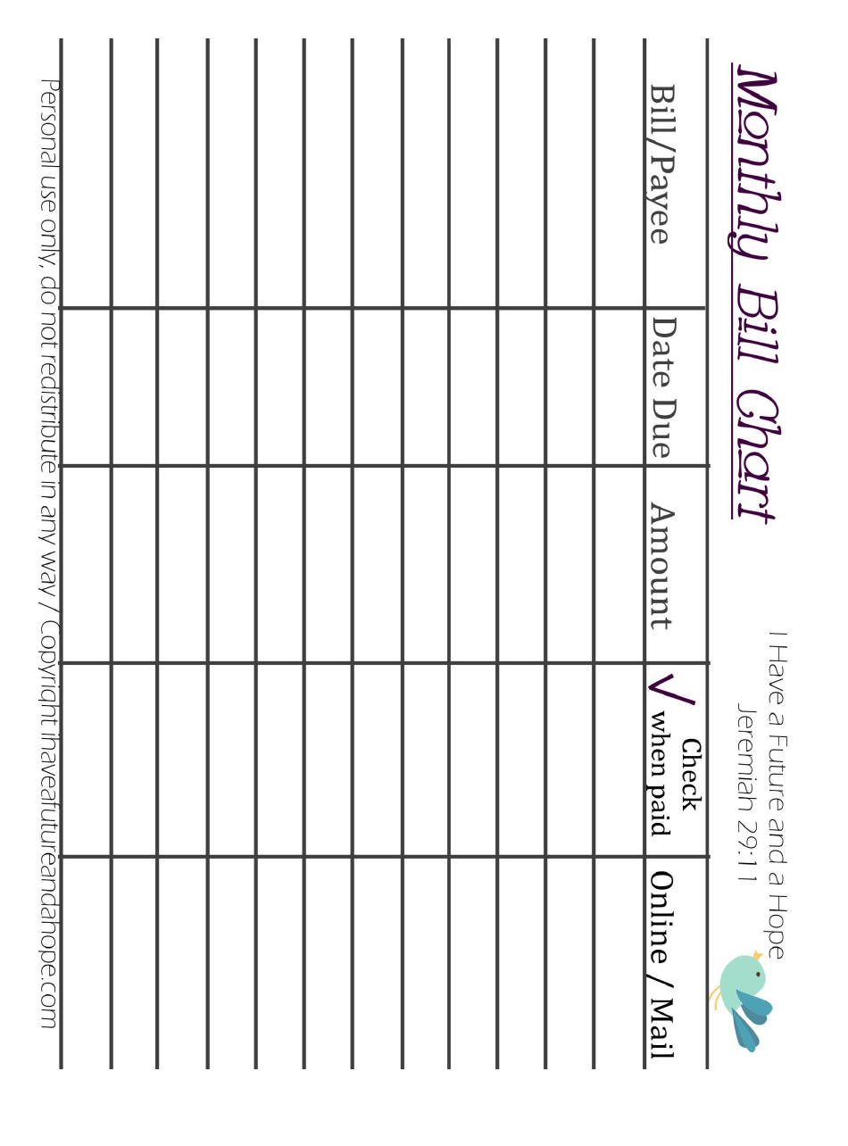 Monthly Bill Chart Template Download Printable Pdf inside Free Printable Bill Chart