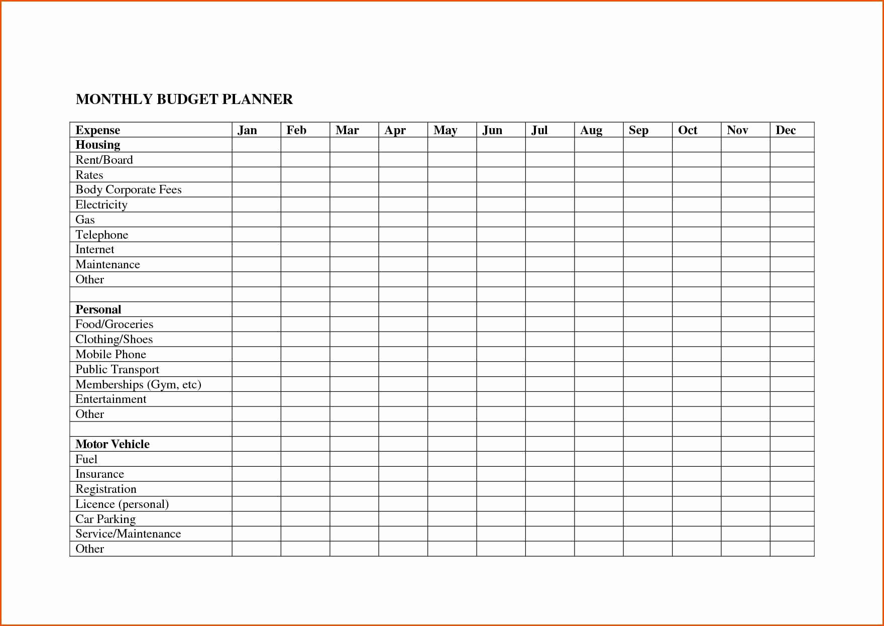 Monthly Bills Spreadsheet Personal Budget Free Download For with regard to Free Printable Monthly Bill Organizer Template