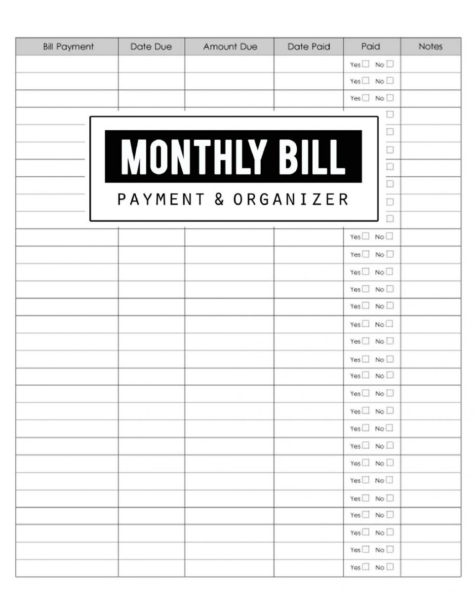 Monthly Bills Spreadsheet Template And Yearly Et Excel inside Monthly Bills Worksheet