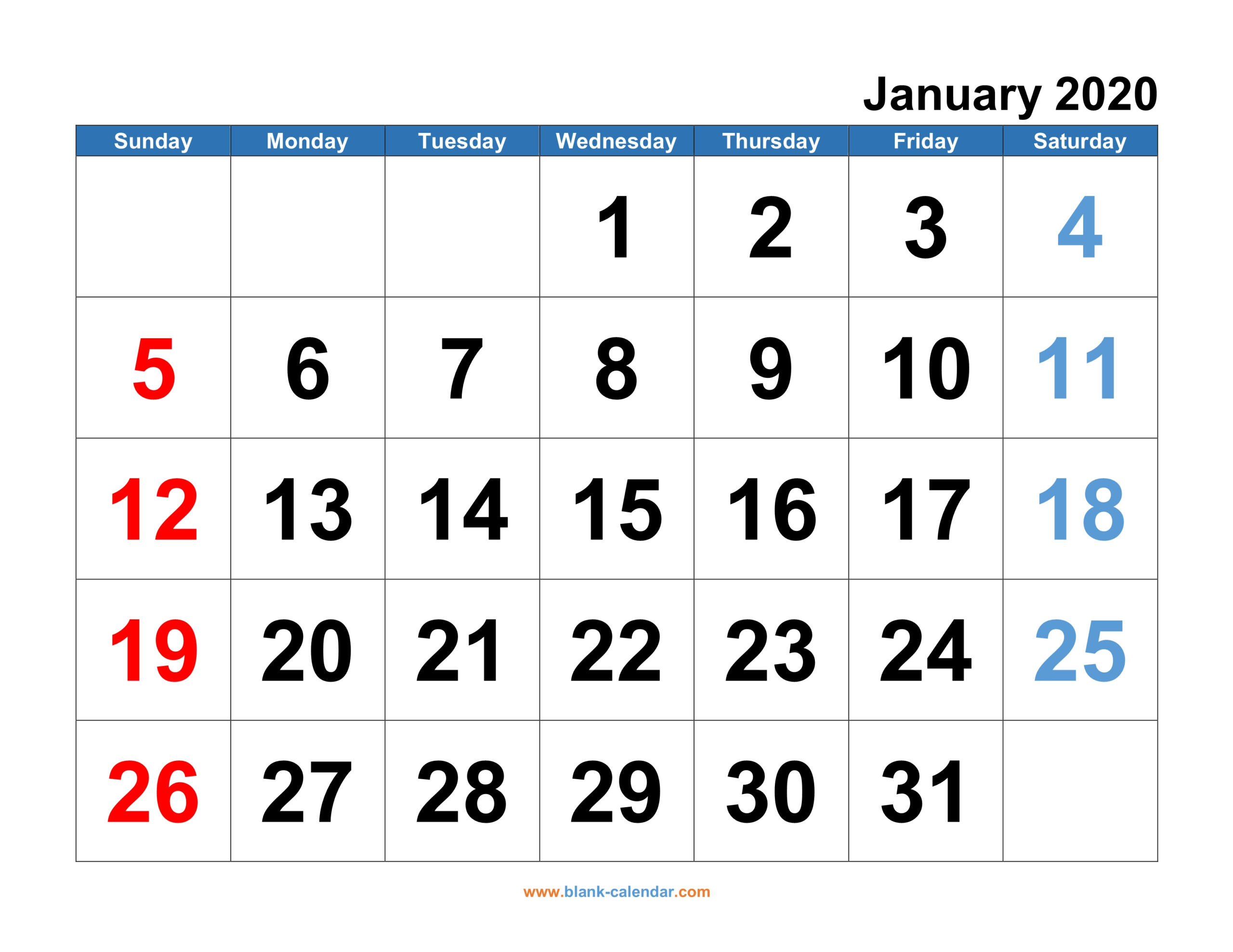 Monthly Calendar 2020 | Free Download, Editable And Printable intended for Free Printable Calendar Numbers