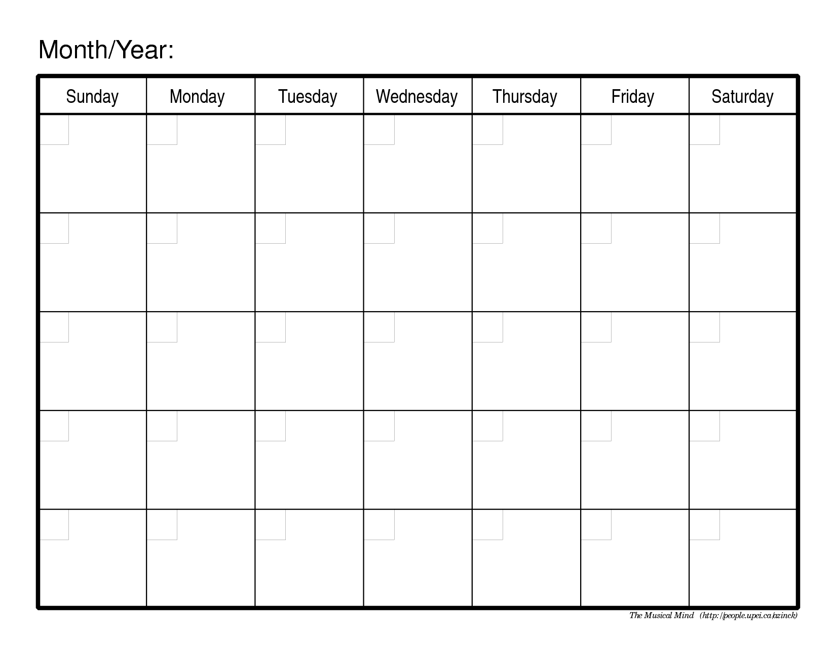 Monthly Calendar Template | Blank Calendar Pages, Printable with Empty Calendar Printable