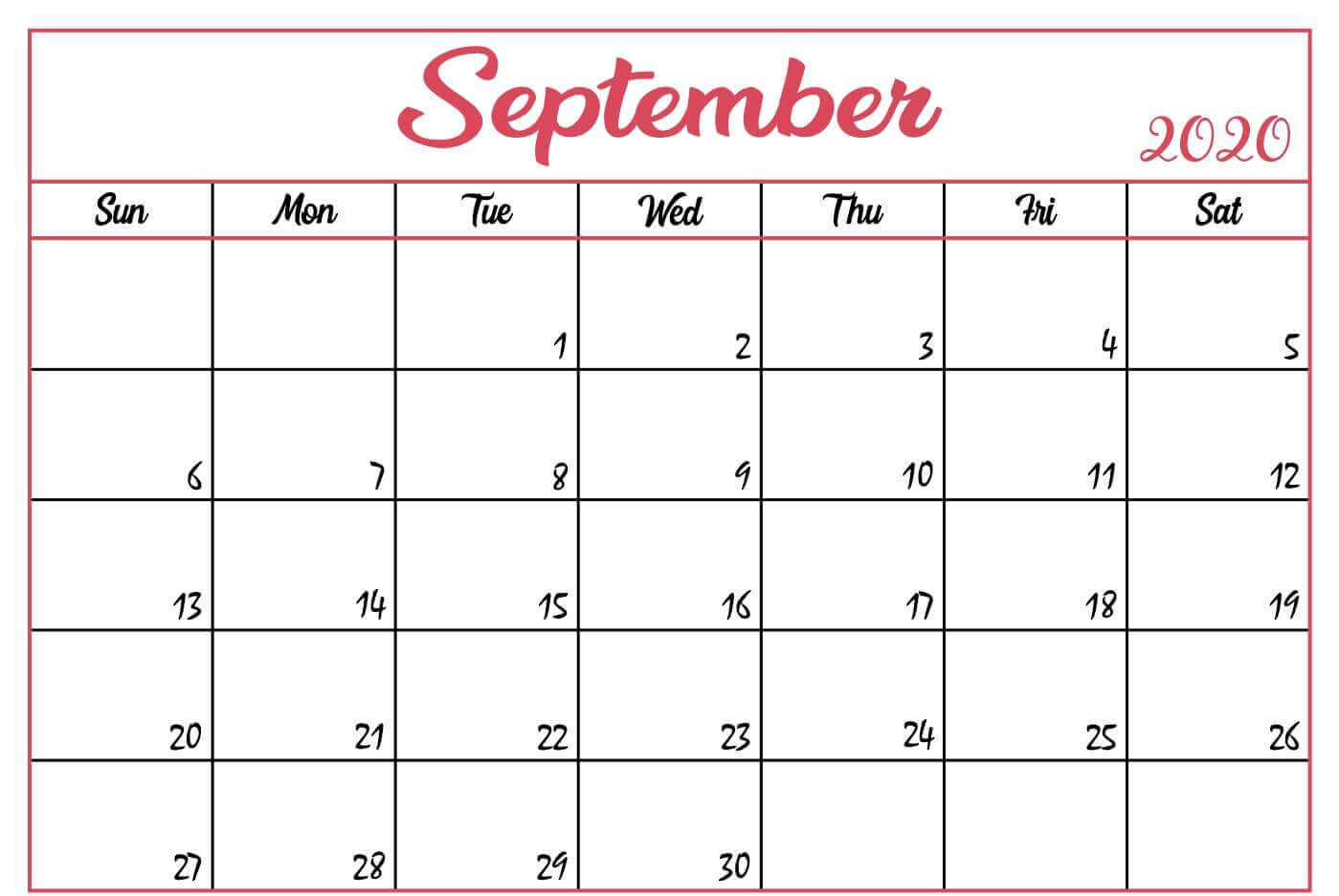 Monthly September 2020 Blank Calendar Pages Printable Template within September Blank Calendar
