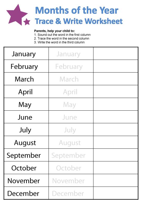 Months Of The Year Worksheets | Guruparents in Hebrew Calendar Worksheets And How To Make One