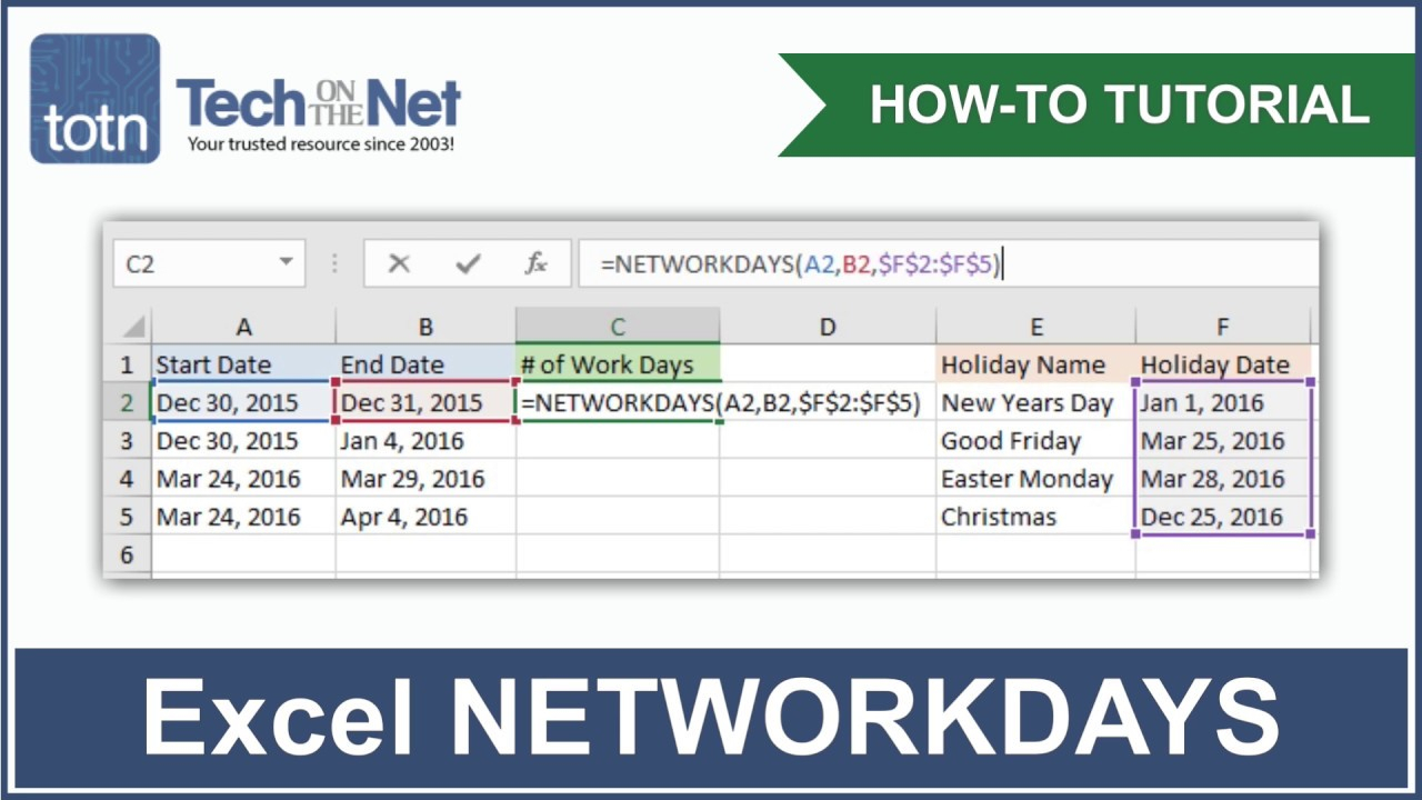 Ms Excel: How To Use The Networkdays Function (Ws) inside Countdown Excluding Weekends